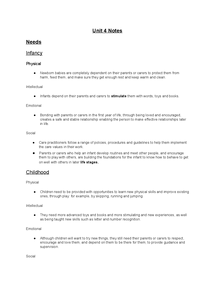 Preview of Edexcel Health and Social Care Unit 4 notes