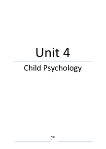 Preview of Unit 4 Psychology Edexcel RN Child Psychology