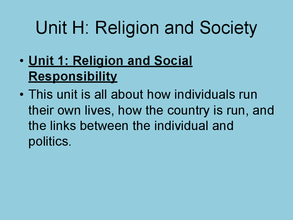 Preview of Unit H- religion and society powerpoint