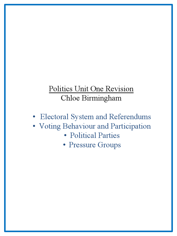 Preview of Unit 1 AQA AS Politics Revision Guide