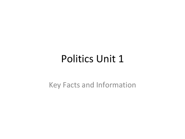 Preview of Unit One Government and Politics AQA