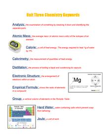 Preview of Unit Three Chem Keywords