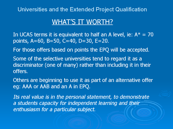 Preview of University views on the extended project qualification