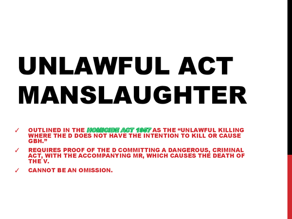 Preview of Unlawful Act Manslaughter