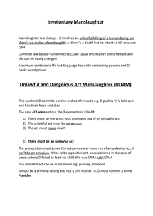 Preview of Unlawful and Dangerous Act Manslaughter A2 Law OCR G153