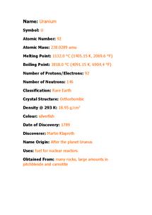 Preview of Uranium properties