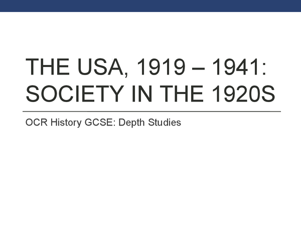Preview of USA: Society In The 1920s