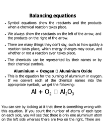 Preview of use of symbol and word equations
