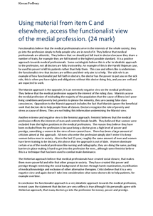 Preview of Using material from item C and elsewhere, access the functionalist view of the medial profession. (24 mark)
