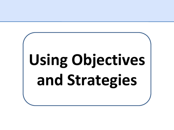 Preview of USING OBJECTIVES AND STRATEGIES