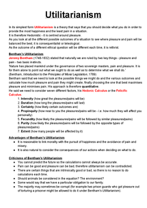 Preview of Utilitarianism Revision/Notes 1