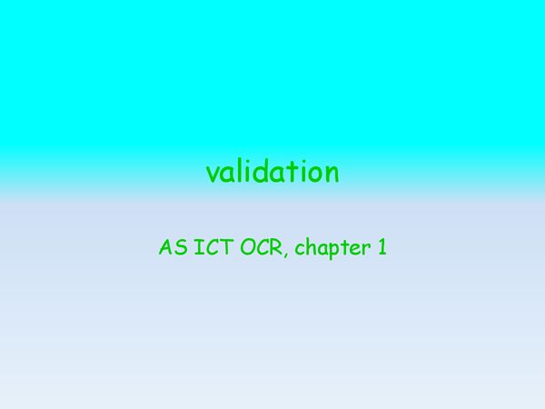 Preview of validation