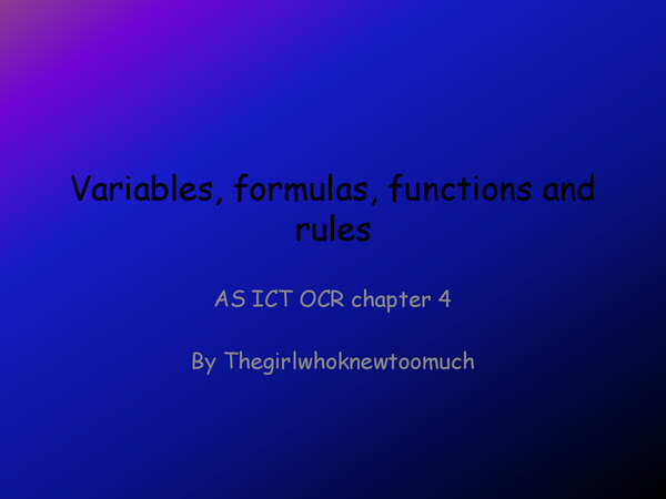 Preview of Variables, formulas, functions and rules