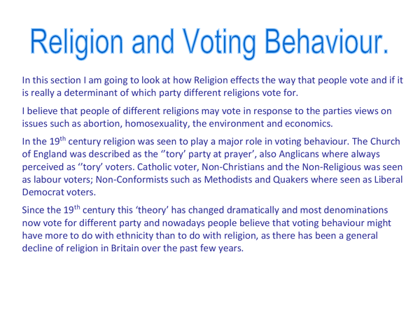 Preview of Voting behavoiur - Religion and Ethnicity