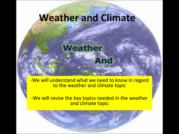 Preview of weather and climate