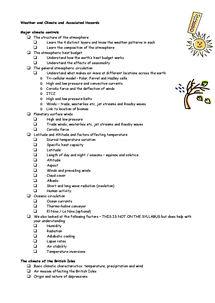 Preview of Weather And Climate Revision List