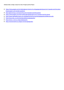 Preview of Website links to aid revision of Unit 2 People and the Planet