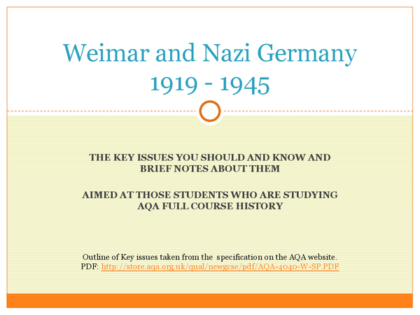 Preview of Weimar and Nazi Germany 1919-1945