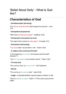 Preview of What is God like? - Printable PDF