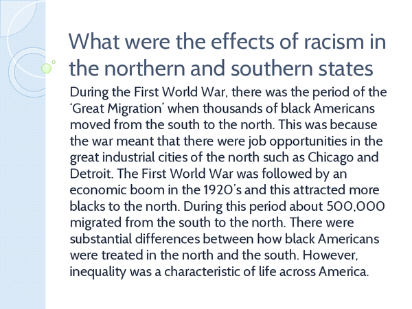 Preview of What Were the Effects of Racism in the Northern and Southern States