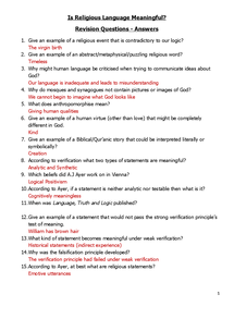 Preview of Is religious language rational Revision Q's + A's