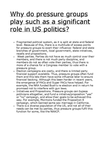 Preview of Why do pressure groups have a significant role in US politics?