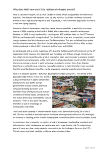 Preview of Why does Haiti have such little resilience to hazard events?