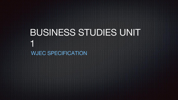 Preview of WJEC | AS Business Studies | BS1 summary | presentation