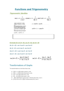 Preview of WJEC Core 3 Trigonometry, Functions and Graphs