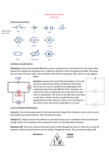 Preview of WJEC GCSE Physics 2 Electricity and Electrical Safety Revision Notes
