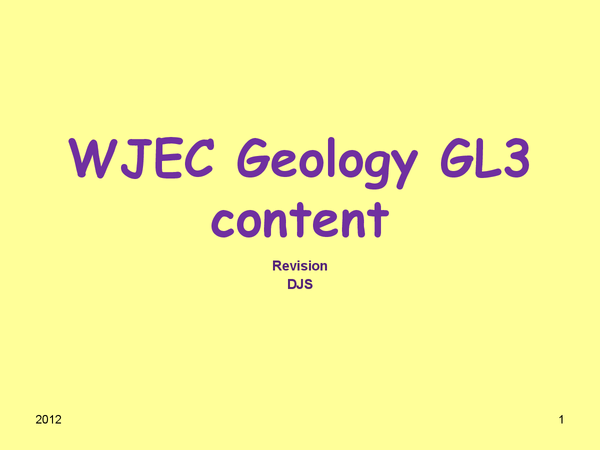 Preview of WJEC Geology GL3 content