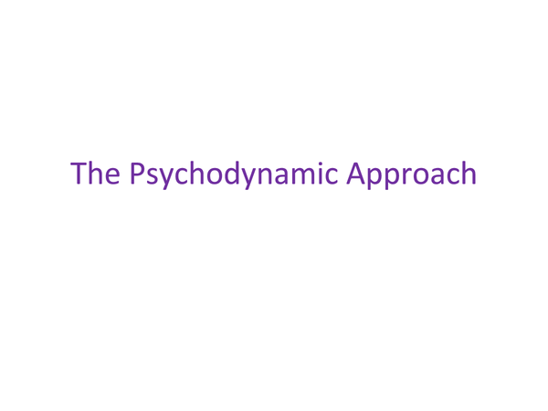 Preview of WJEC PSY1 The Psychodynamic Approach
