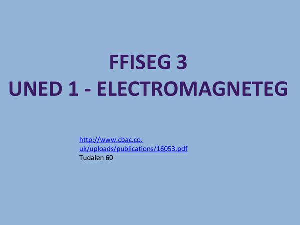 Preview of WJEC/CBAC Ffiseg 3- Uned 1- Electromagneteg (yn Gymraeg)