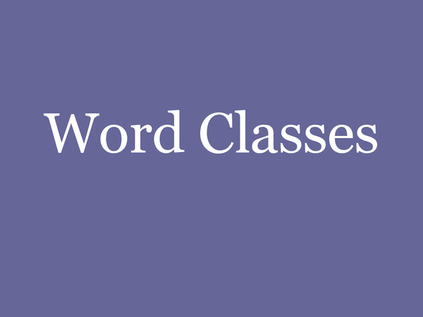 Preview of Word Classes