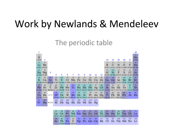 Preview of work by newlands and mendeleev