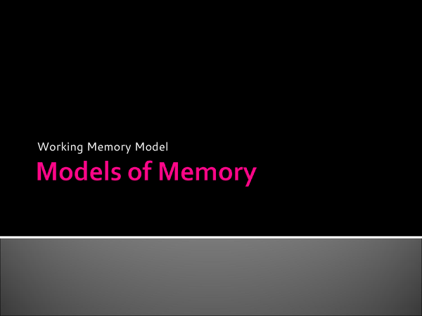 Preview of Working Memory Model Psychology Unit 1