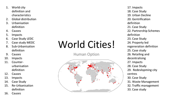 Preview of World Cities Notes and Case Studies