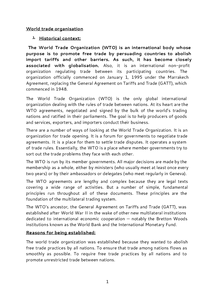 Preview of World Trade Organisation (WTO) handout