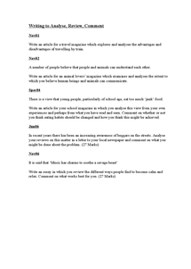 Preview of Writing to Analyse, Review and Comment Questions