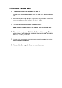 Preview of Writing to argue, persuade, advise questions