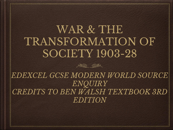 Preview of WW1 & the Transformation of Society