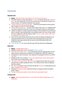 Preview of Yeats revision notes OCR