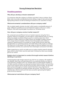 Preview of Young Enterprise Possible Questions
