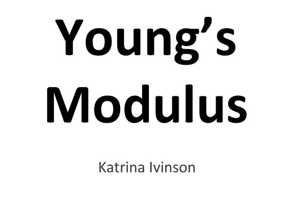 Preview of Young's Modulus
